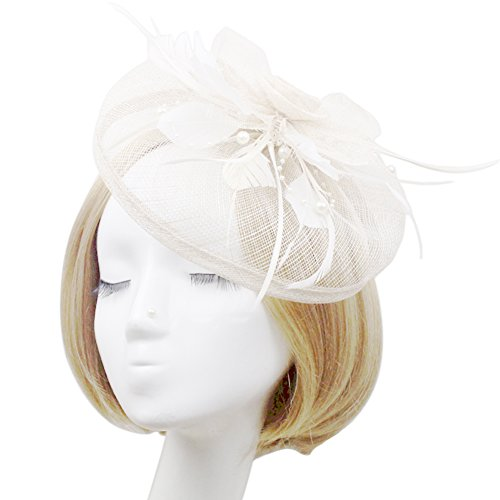 Cheap Derby Hat (MeryaDress Pillowbox Fascinator Sinamay Feather Kentucky Derby Fascinator Hats Tea Party Hats for Women Off-White)