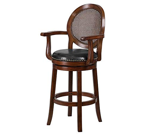(Furniture 30'' High Expresso Wood Barstool with Arms and Black Leather Swivel Seat Home Bar Pub Café Office Commercial)
