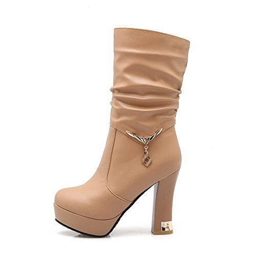 Closed Round Heels Mid High Top Toe On Boots Pull Allhqfashion Women's Apricot UawnqqRH