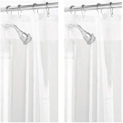 "mDesign Waterproof, Mold/Mildew Resistant, Heavy Duty PEVA Shower Curtain Liner for Bathroom Showers and Bathtubs - No Odor, Chlorine Free - 3 Gauge, 72"" x 72"", Pack of 2, Clear"