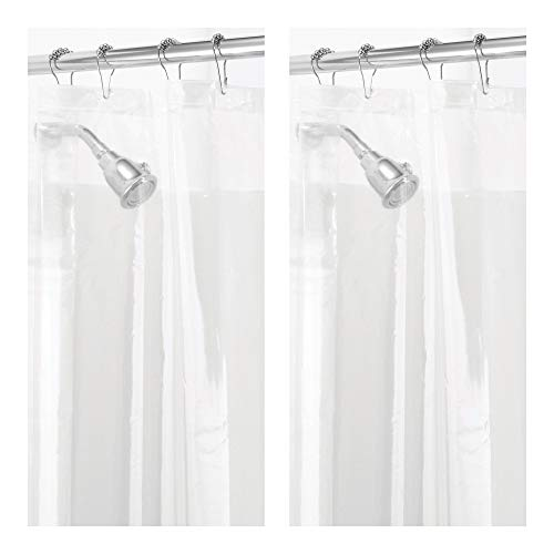 mDesign Waterproof, Mold/Mildew Resistant, Heavy Duty PEVA Shower Curtain Liner for Bathroom Showers and Bathtubs - No Odor, Chlorine Free - 3 Gauge, 72' x 72', Pack of 2, Clear
