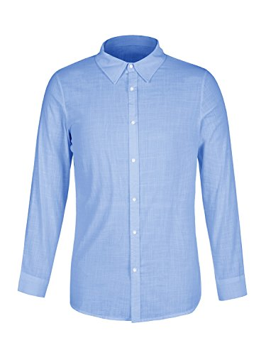 8a80f9c92419 EastLife Mens Linen Button Up Shirts Casual Long Sleeve Loose Fit Beach  Shirts