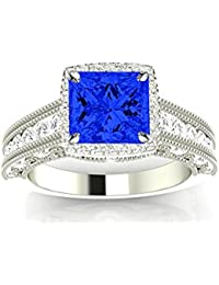 Vintage Halo Style Channel Set Round Brilliant Diamond Engagement Ring Milgrain with a 1.5 Carat Blue Sapphire Heirloom Quality Center