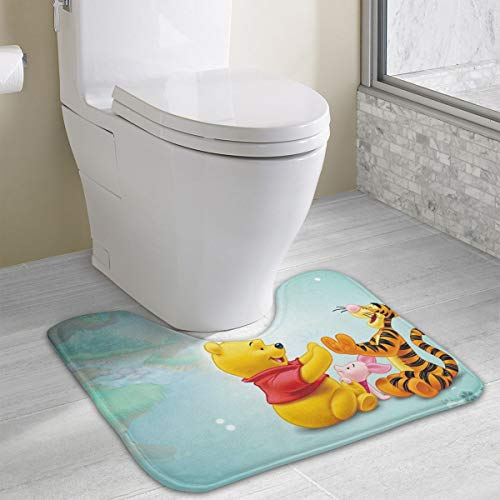 Contour Bath Rug Tigger Piglet and Winnie The Pooh U-Shaped Toilet Floor Rug Shower Mat Non Slip Bathroom Carpet 19.3