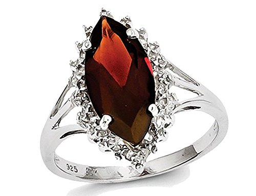 3.00 Carat (ctw) Natural Red Garnet Marquise Ring in Sterling Silver