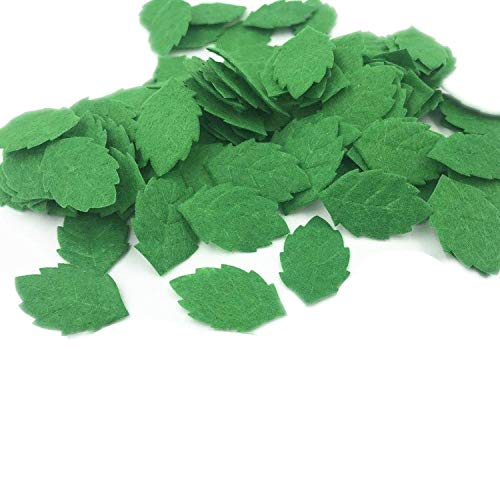 100pcs Green Leaves-Shape Felt Card Making Decoration Sewing Crafts 30mm