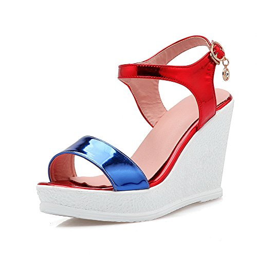 AmoonyFashion Sandals Pu Heels Womens Color Buckle Toe High Assorted Open Blue aWaqrRz