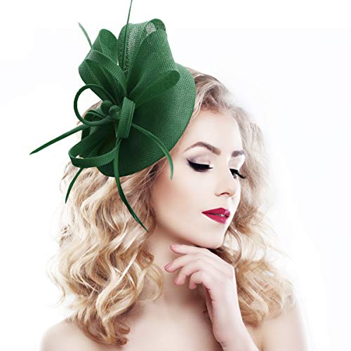 - homy Fascinator Hats Feather Fascinators for Women Pillbox Hat Headband for Wedding Derby Tea Party Race, A - Olive Green, Small