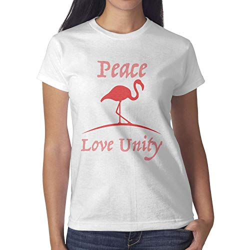 - Flamingo Peace Love Unity White Womens Shirts Crew Neck Cotton Mesh Sport Cool Short Sleeve