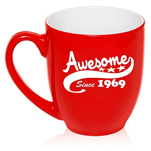 16 oz Large Bistro Mug Ceramic Coffee Tea Glass Cup Awesome Since 1969 50th Birthday (Red)