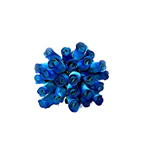 24 Realistic Wooden Roses - Blue Flower Roses 97