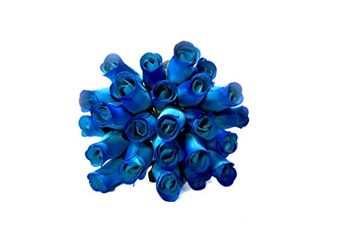 24 Realistic Wooden Roses - Blue Flower Roses