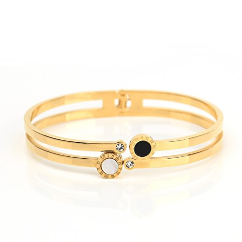 United Elegance Stylish Dual Strand Designer Bangle Bracelet in Gold Tone with Contemporary Circular Design, Faux Onyx & Mother of Pearl Inlay, Roman Numerals and Swarovski Style Crystals (160106)