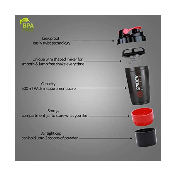 Flitzip Protein Shaker Bottle with Mixing Ball and Storage, 500 ml, Gym Blender Bottle & Drinking Bottle – 100… 2021 July In-Box Contents: 1 Shaker Bottle 500 ml: Note:The mixing wire is inside the bottle. Our Shaker Bottles are 100% Food grade material the most safe and healthy material for bottles which is BPA Free. Eco Friendly, safe for all. 100 % Leak proof, storage container, pill container, water bottle plus shaker for preparation and saving time.