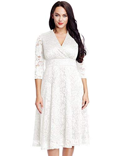 Lookbook Store Women's White Lace Mother of The Bride Bridal Empire Dress 12W