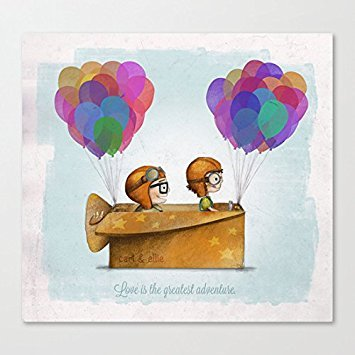 Pioenfly UP Pixar Love is the greatest adventure Unframed Natural Canvas Wall Art (12'' x 12'' ) by UTF4C