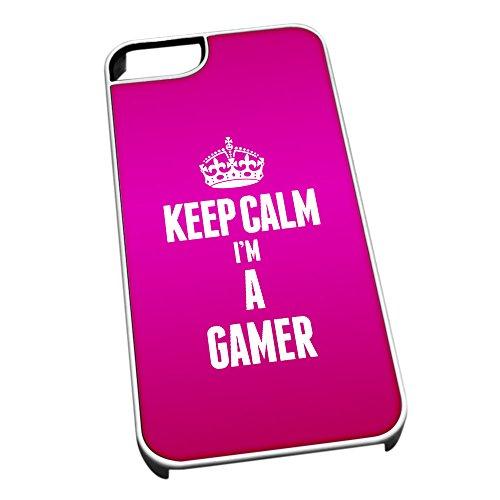 Bianco cover per iPhone 5/5S 2590rosa Keep Calm I m A gamer