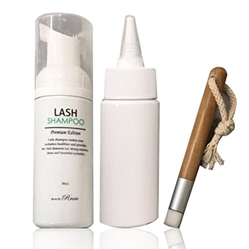 BEAUTY RRIOR Lash Shampoo Set Eyelash Aftercare Premium Edition Cleansing Brush Bottle Nourish Cleanse (lash shampoo set(bottle, brush))