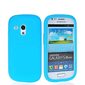 HKCFCASE Matte Soft Gel Silicone Back Shell Case Cover With Screen Protector For Samsung Galaxy S3 Mini I8190 Lightblue