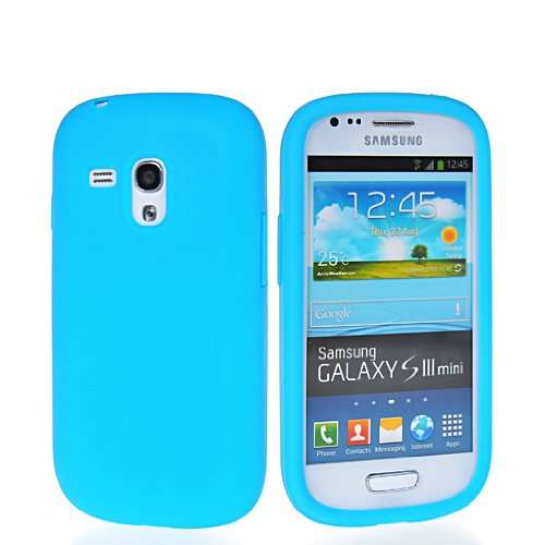 SHOPPINGBOX Matte Soft Gel Silicone Back Cover Case With Screen Protector For Samsung Galaxy S3 Mini I8190 Lightblue