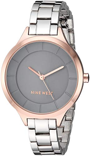 (Nine West Women's NW/2225GYRT Rose Gold-Tone and Silver-Tone Bracelet Watch)