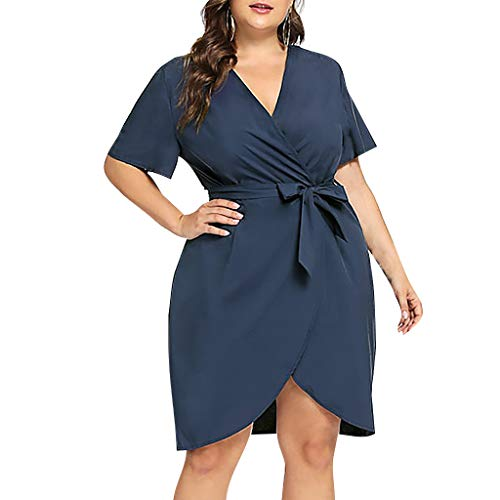 - Women's Plus Size Casual Short Sleeve Party Bodycon Sheath Belted Dress