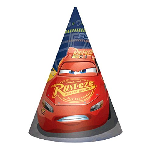 Disney Cars 3 Lighning McQueen Kids Birthday Party Hats (Cone Hats) Kids Party Supplies - 8 Cts
