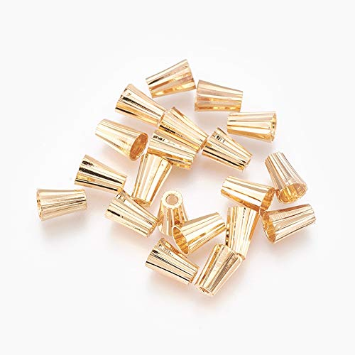 Beadthoven 20Pcs Brass Gold Plated Bead Caps Terminators Bead Cones Spacer End Caps for Jewelry Making Supplies 7x5mm