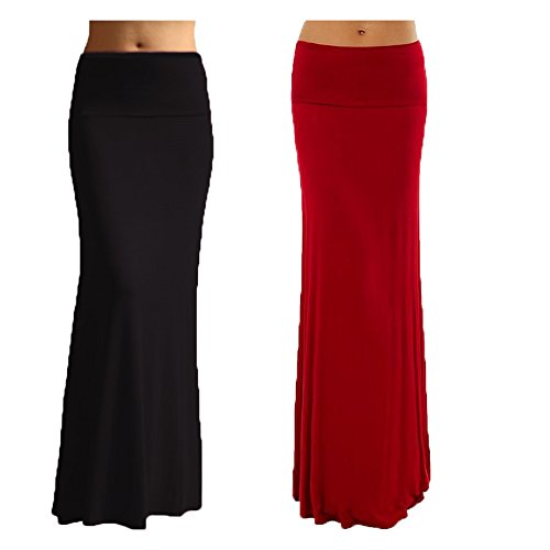 2 Pack Women's Rayon Spandex Maxi Skirt Black Red S