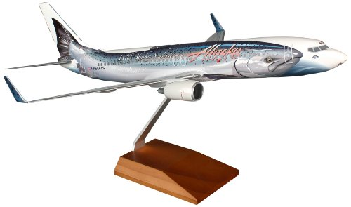 Daron Skymarks Alaska 737-800 Thirsty Salmon with Gear and Wood Stand (1/100 ()