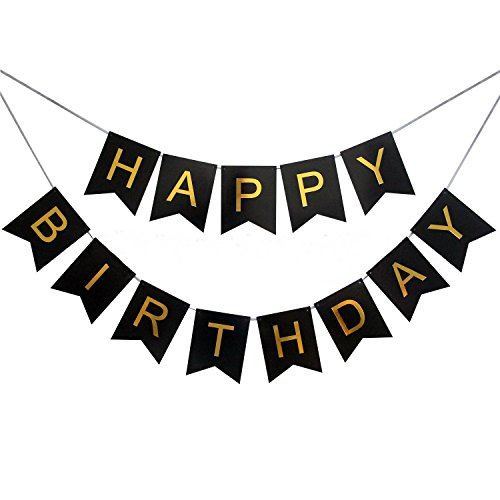 PZZ BEACH Black Happy Birthday Bunting Banner with Shiny Gold Letters Birthday Party Decoration Supplies 21st 30th 40th 50th