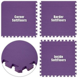 Floor Pad, SoftFloors, Purple, 8' x 10' Set, Total Sq. Ft.:80