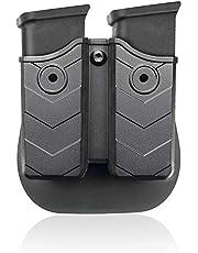 efluky Universal Portacargador Doble Portacargador Funda para Pistola Cargador Bolsa para H&K USP FS/Compact 9mm/.40/Beretta/Golck 17 19/Beretta/CZ 75/Walther P99/Sig Sauer p226, Paddle 60°Adjustable
