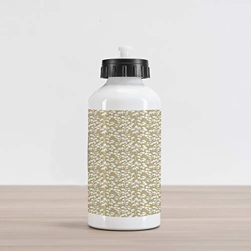 num Water Bottle, Vineyard Garden Theme with Silhouette Grapevines and Bunch of Grapes Pattern Print, Aluminum Insulated Spill-Proof Travel Sports Water Bottle, Tan and White ()