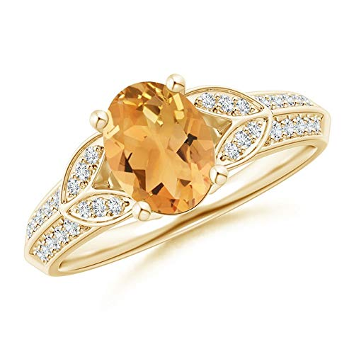 Knife-Edged Oval Citrine Solitaire Ring with Pave Diamonds in 14K Yellow Gold (8x6mm Citrine)