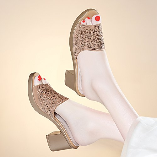 ZPPZZP Ms sandali pantofole a tacco alto Bold e il coreano-stile wild 37EU oro