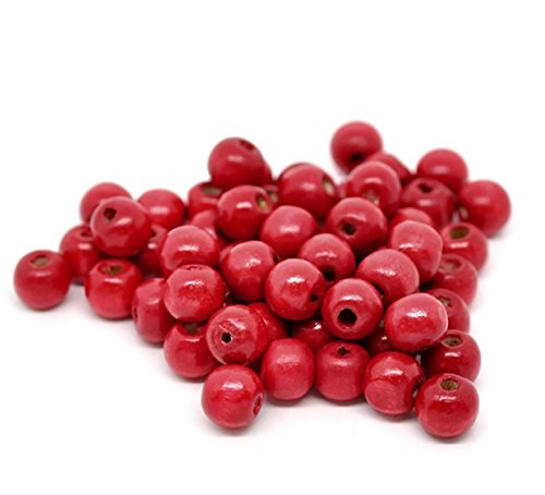 7mm Wood Round Beads - 300pc Red Round Wood Beads for Jewelry Making, Rosaries, Crafts (7mm x 8.5mm)