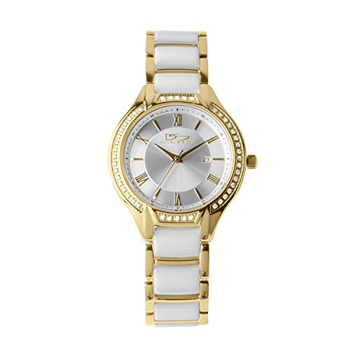 Daniel Steiger Monaco White Ceramic And Yellow Gold Plated Steel Luxury Ladies Watch - Crystal Studded Bezel - Scratch Resistant Ceramic - Water - Gold Wrist White Plated Watch