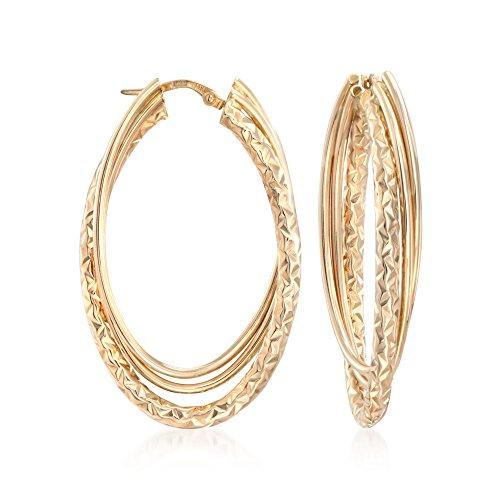 (Ross-Simons Italian 14kt Yellow Gold Triple Hoop Earrings)