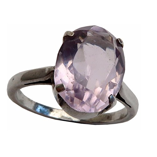 Satin Crystals Amethyst Ring Boutique Sparkling Faceted Purple Genuine Gemstone Healing Stone B02 (sterling-silver, 5.75) Angel Sterling Silver Key Ring