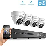 Amcrest UltraHD 4MP 4CH Video Security System - Four 3840TVL 4.0-Megapixel Weatherproof IP67 Dome Cameras, 98ft IR LED Night Vision, NO HDD Included, HD Over Analog/BNC, Smartphone View (White)