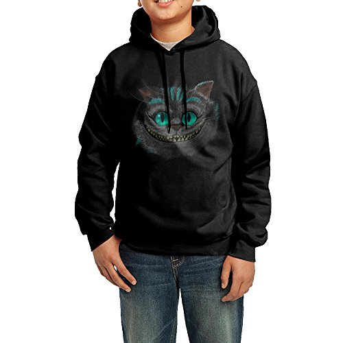 Cheap Cheshire Cat Costumes (GGDD Boys & Girls Cheshire Cat Smile Face Visor Vintage Hoodie Hooded Sweatshirt Casual Style M Black)