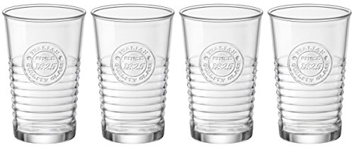 Bormioli Rocco 540620G10021990 Officina1825 Water Glass – 10.25 oz – 4 Piece Set, Clear For Sale