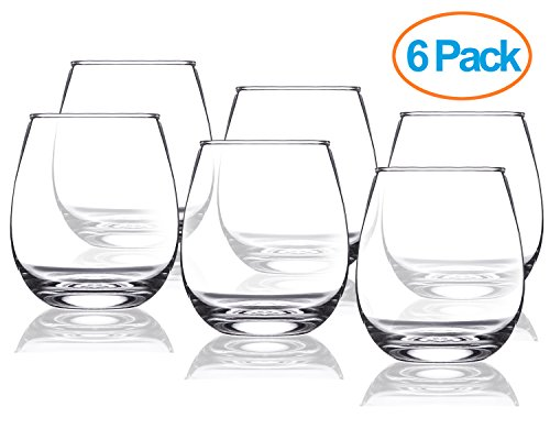 Chef's Star 15 Ounce Stemless Wine Glasses Set - Classic Durable Wine Cups Ideal for All Occasions - Packaged in a Gift box - Top Gift Idea! - Shatter-Resistant Glass - Owl Rimmed Glasses