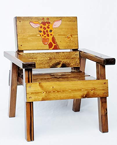 Childrens Wood Jungle Safari Chair, Engraved & Painted - Chair Jungle Hand Childrens Painted
