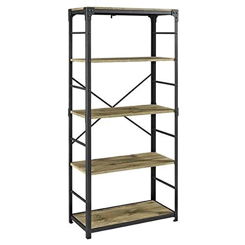 Barnwood Bookshelf (Walker Edison 4 Shelf Bookcase in Barnwood)