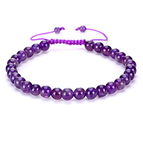 BRCbeads Gemstone Beaded Bracelets Natural Birthstone Healing Power Crystal Macrame Adjustable 7-9 Inch Gift Box