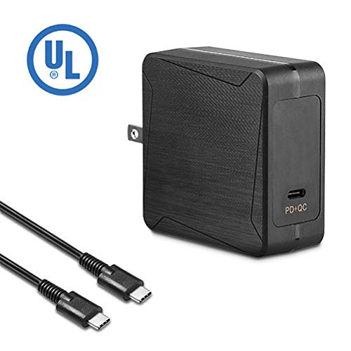 65W Type C Universal Portable PD Wall Charger Adapater for HP/Acer/LG/Samsung Mate Book/Lenovo US/Can/Mex Only Used in USB Type C Notebooks/Tablets (Swift 7 Ultra Thin Laptop Sf713 51 M90j)