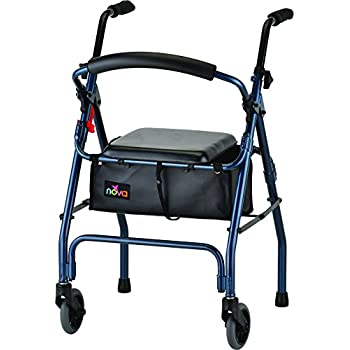 Amazon com: Drive Medical Two Wheeled Walker with Seat, Blue