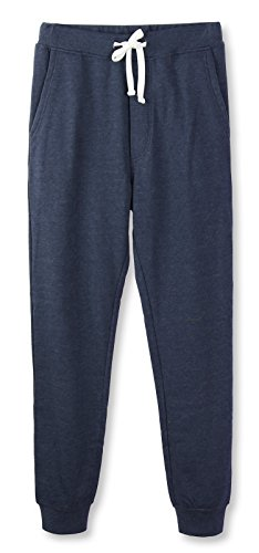 (HETHCODE Mens Classic Fit Basic Fleece Closed-Bottom Pocketed Joggers Sweatpants Cadet Blue M)